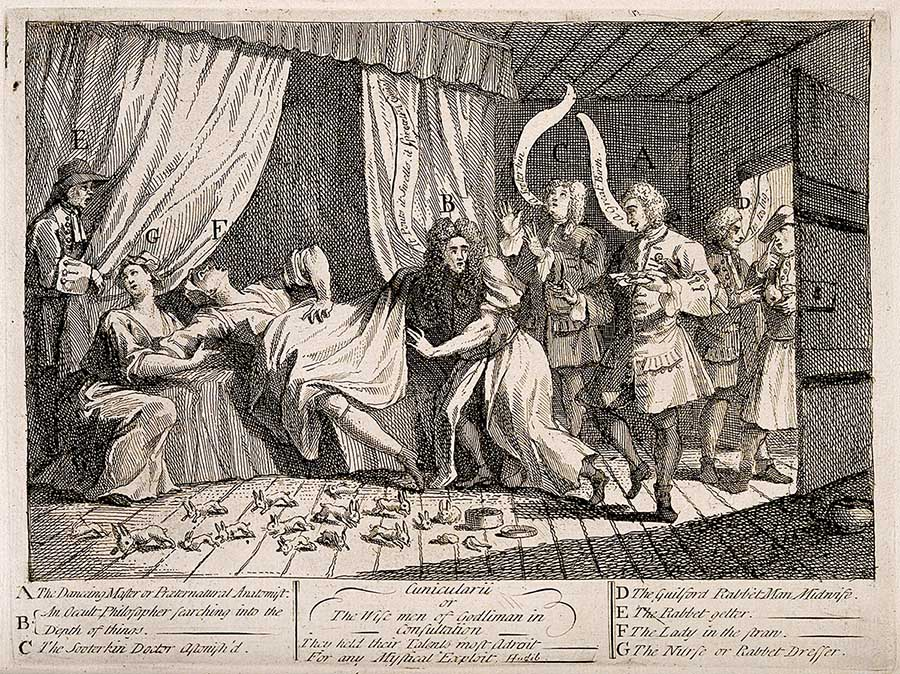 Cunicularii or the Wise men of Godliman in consultation, engraving by William Hogarth, 1726. Wellcome Images.