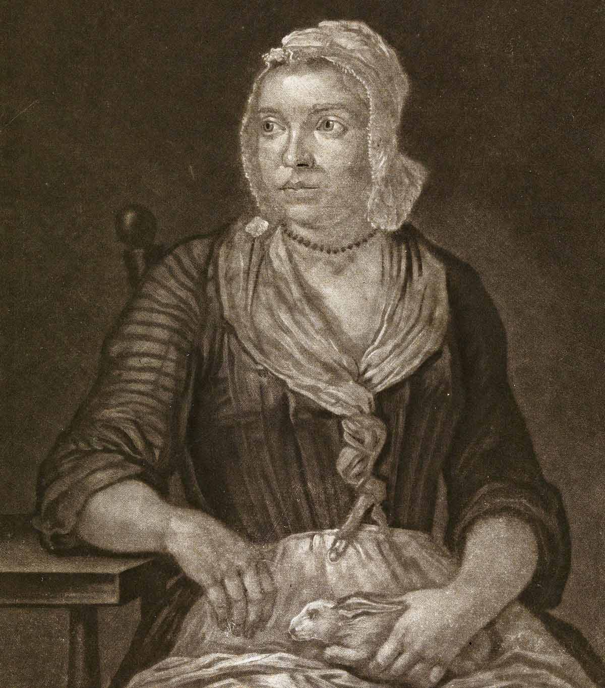 'Mary Toft of Godelman the pretended rabbit breeder', mezzotint by J. Faber, c.1726. Wellcome Images.