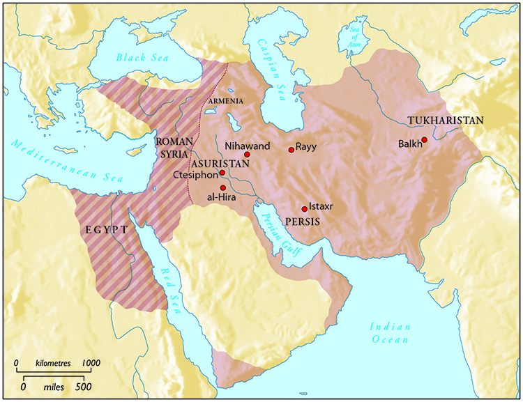 The Sasanian Empire at its greatest extent.