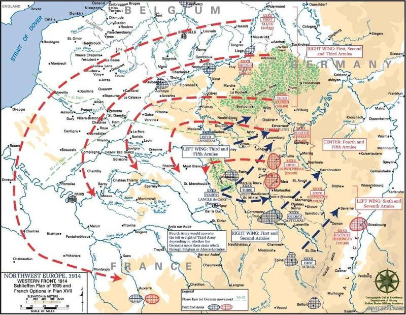 Map of the Schlieffen Plan and planned French counter-offensives. Click to enlarge