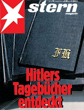 """Hitler's diaries discovered"" – West German news magazine Stern's headline on 22 April 1983."