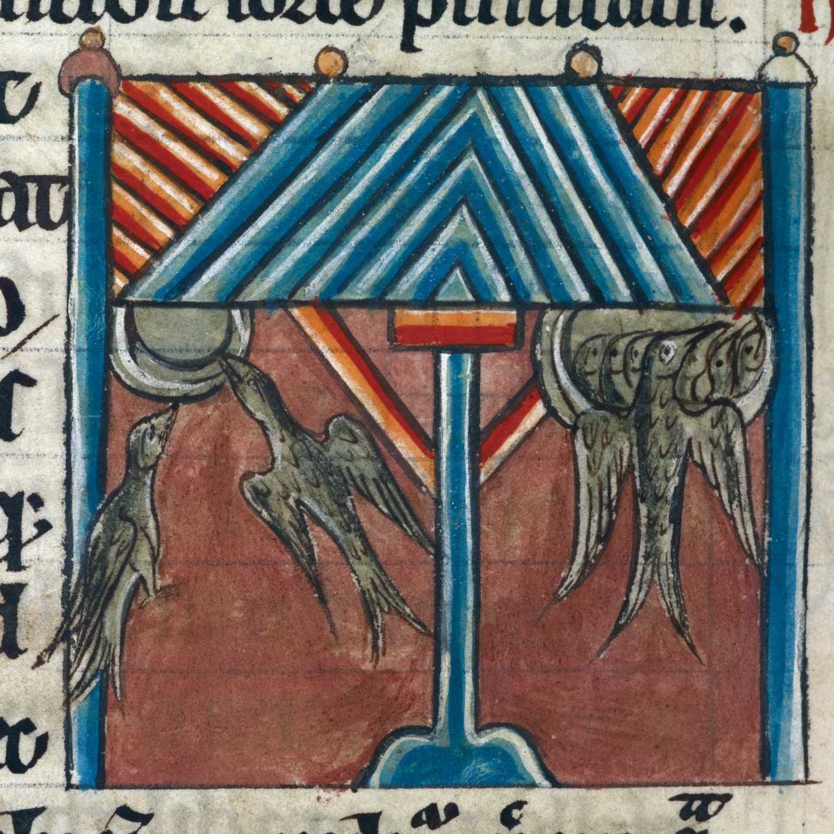 Swallows build their nests under the eaves of a house, from an English bestiary, c.1230 © British Library Board/Bridgeman Images.