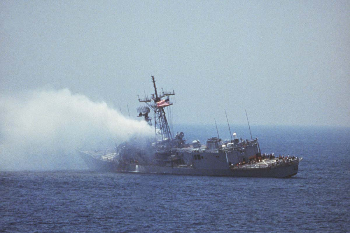The USS Stark after being struck by an Iraqi Exocet missile, 17 May 1987 © Corbis/Getty Images