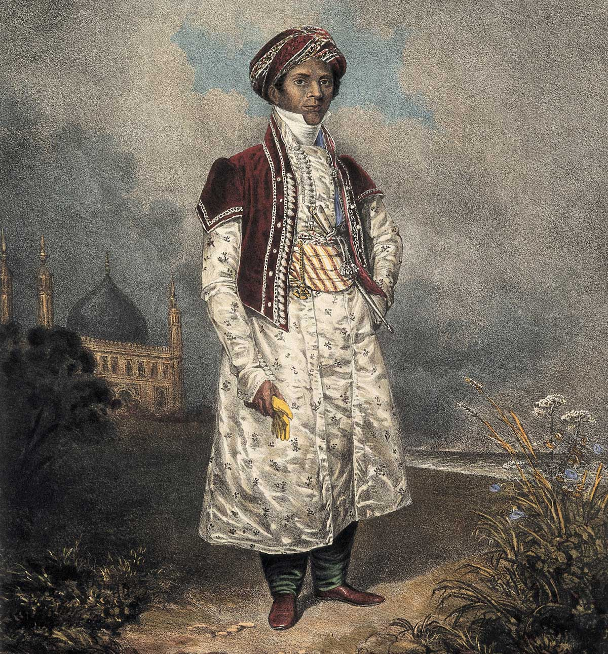 Sake Deen Mahomed. Coloured lithograph by T. M. Baynes, c. 1820. Wellcome Collection,
