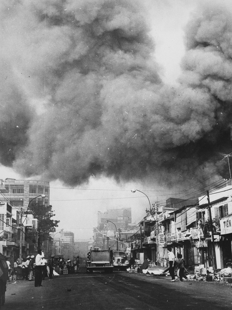 Black smoke covers areas of Saigon during the Tet Offensive.