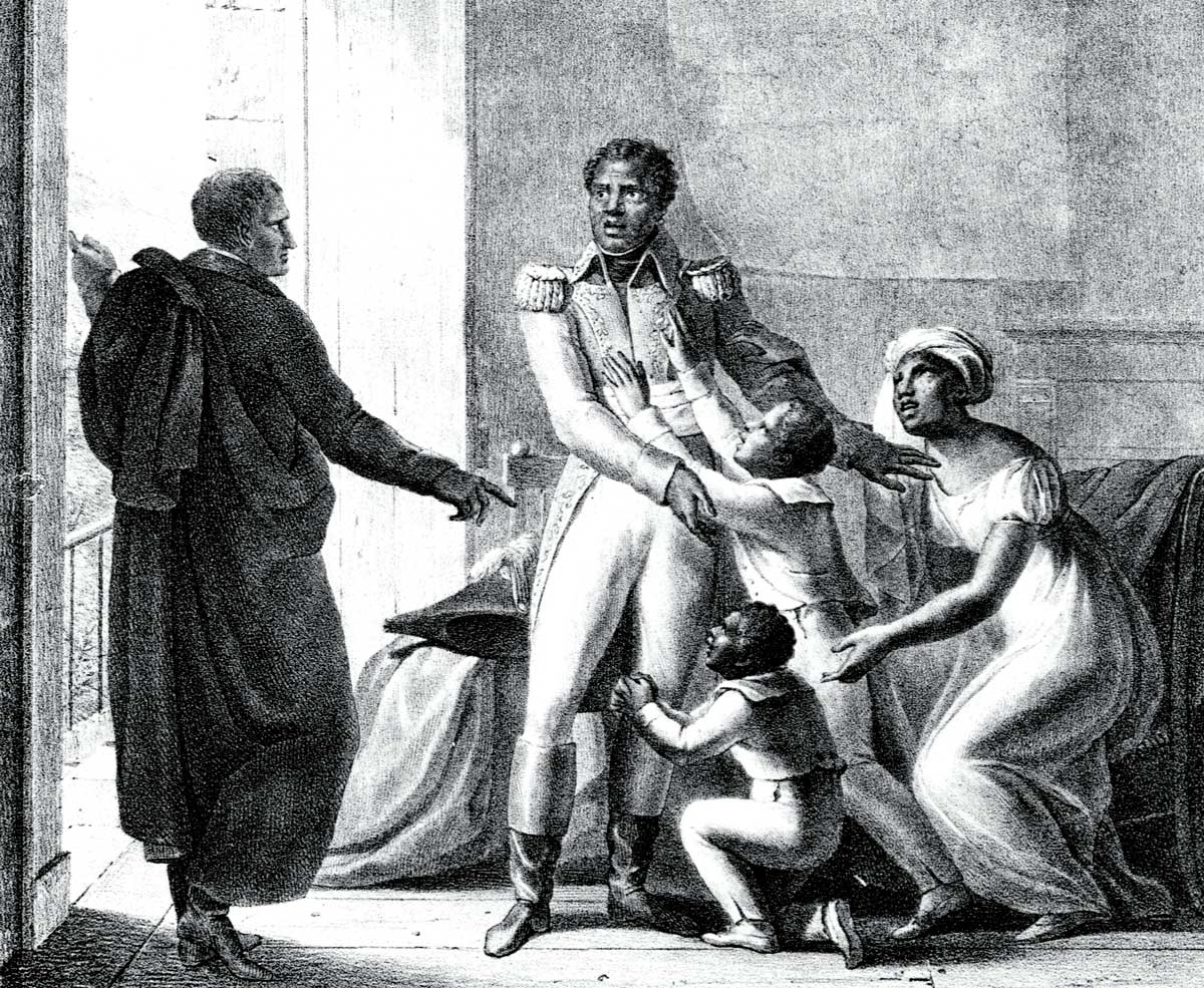 Toussaint Louverture (with wife and children) being seized by the French, 19th-century engraving. Getty Images.