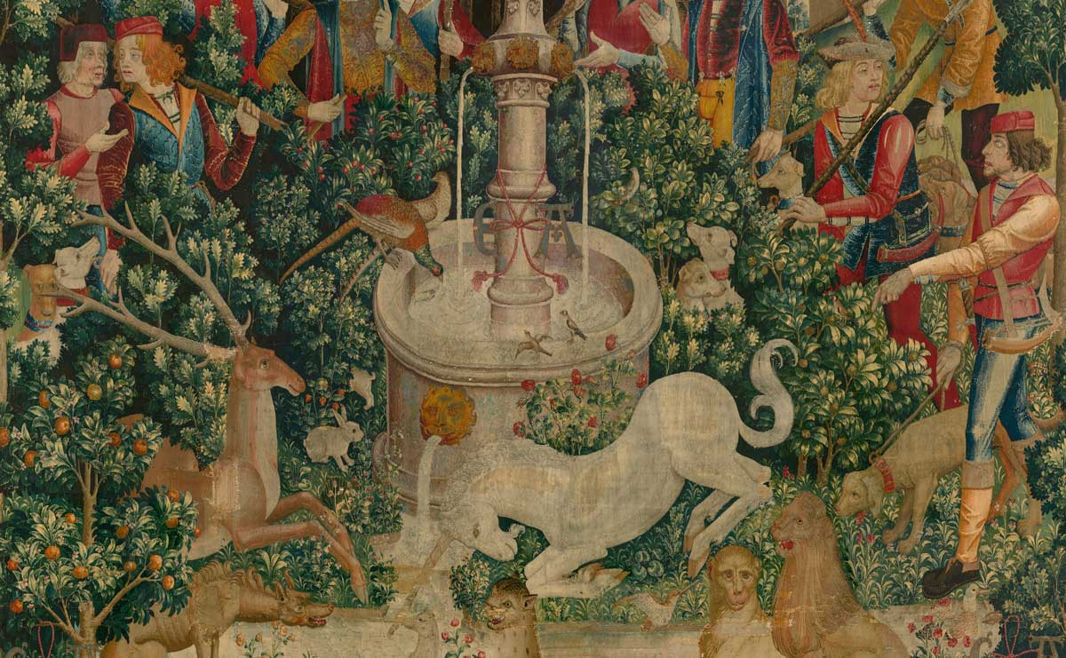 Detail from The Unicorn is Found (from the Unicorn Tapestries), 1495–1505. Metropolitan Museum of Art.