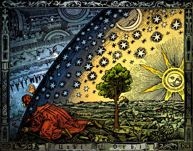 The Flammarion engraving (1888) depicts a traveller who arrives at the edge of a flat Earth and sticks his head through the firmament. Colouring added by Heikenwaelder Hugo, Wien 1998