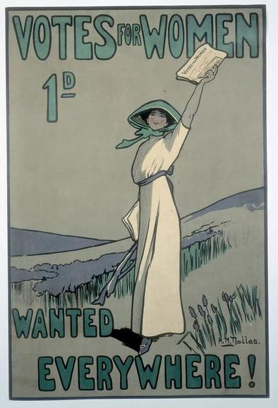 WSPU poster, by Hilda Dallas 1909