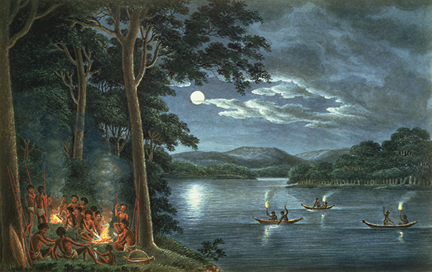 Aborigines fishing by torchlight and cooking fish by the convict artist Joseph Lycett, Van Diemens Land c.1820. Bridgeman/National Library of Australia Canberra