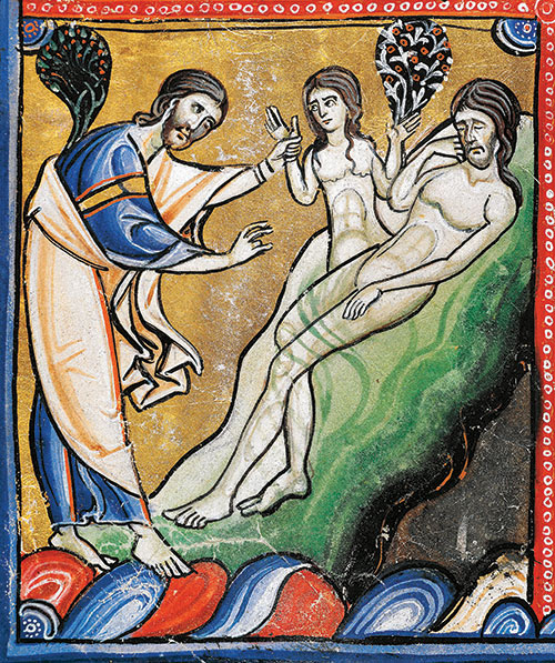 Eve is created from Adam's rib, Souvigny Bible, 12th century. De Agostini Picture Library / Bridgeman Images