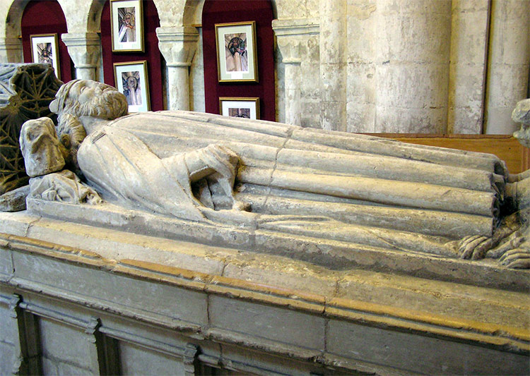 Empty fifteenth-century tomb of King Æthelstan at Malmesbury Abbey.