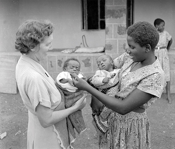 A Nigerian orphanage in 1955, where British and Nigerian women worked together to care for Nigerian babies. In Britain, the care of African children would become a point of political contention. Getty Images
