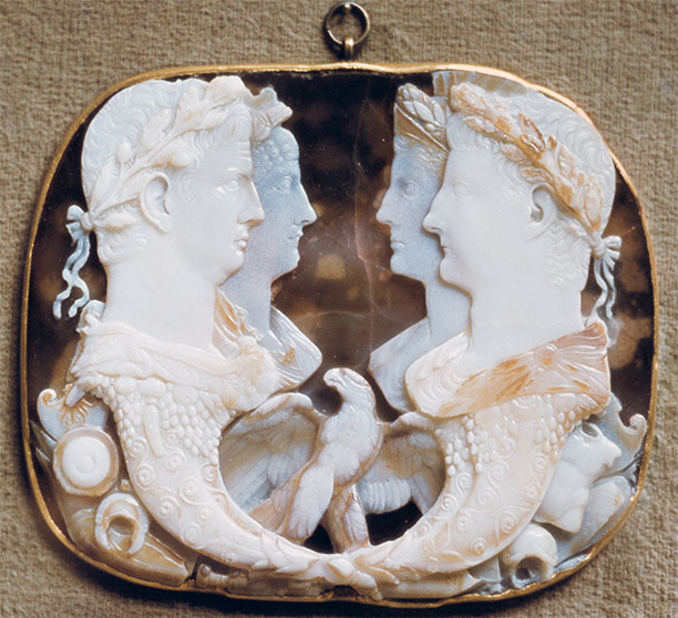 The Gemma Claudia, an onyx cameo showing Claudius as Jupiter with his new wife Agrippina to the left, opposite her parents Germanicus and Agrippina the Elder, c. AD 49