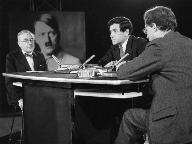A.J.P. Taylor (left) discusses his book, The Origins of the Second World War, with Hugh Trevor- Roper (right) in a BBC broadcast of 1961 chaired by Robert Kee.