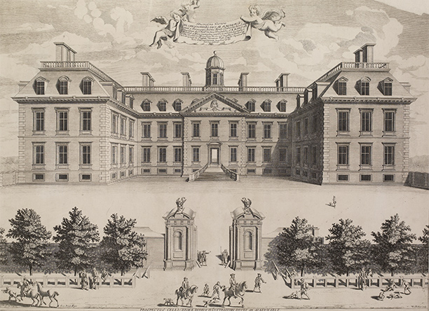 Alberlarle House (later Clarendon's House) in London's Piccadilly. An engraving of 1683. British Museum
