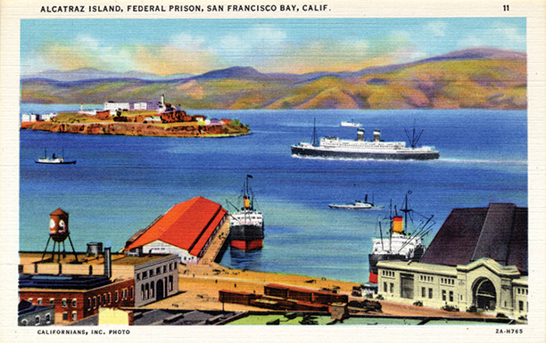 Wish you were here? A linen postard of Alcatraz from 1932. Getty / Archive Photos