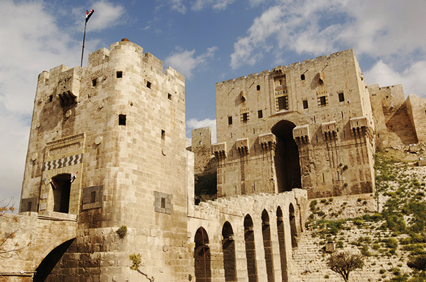 Fortified gateway to the citadel at Aleppo, Syria