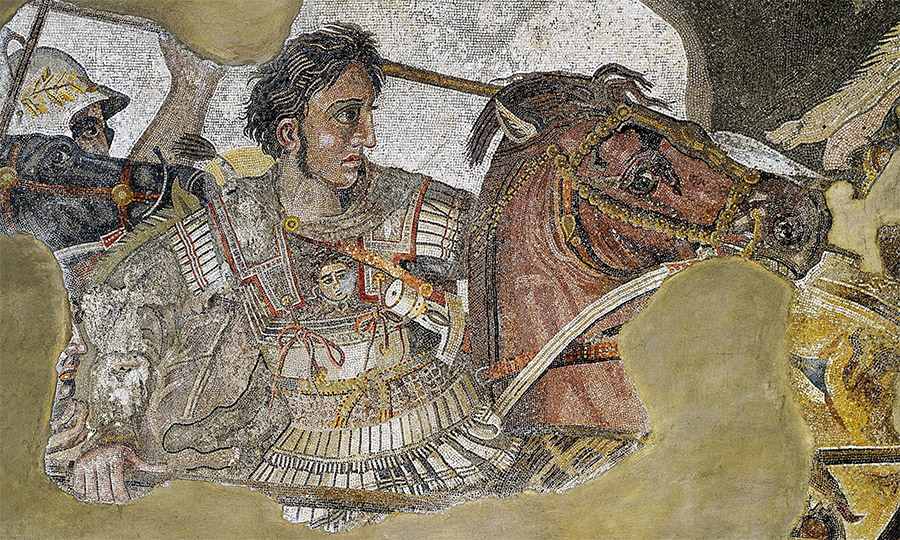 Detail of the Alexander Mosaic, a Roman floor mosaic in Pompeii dating from c. 100BC, showing Alexander the Great.