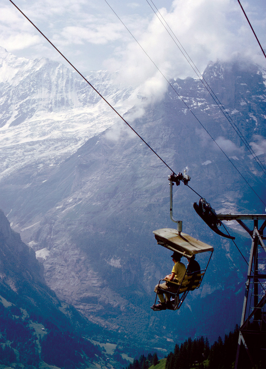 Chair lift in Grindelweld, Switzerland, 1964.
