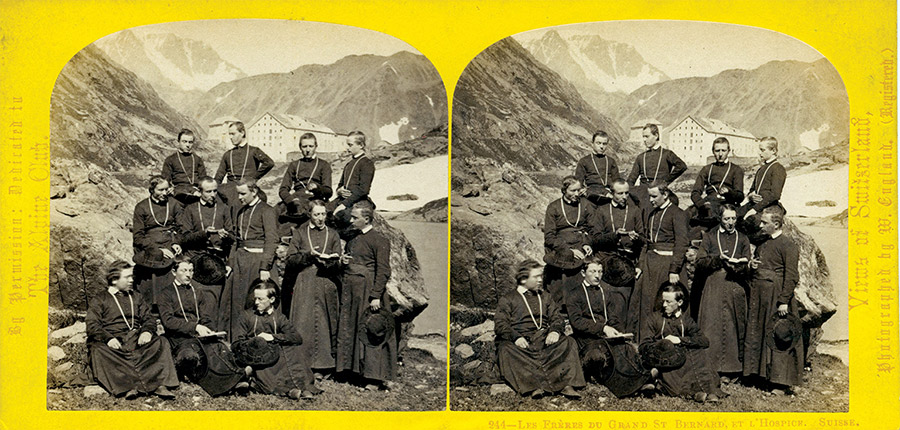 Stereoview photograph showing monks at the Great St Bernard Hospice, William England, 1860s.