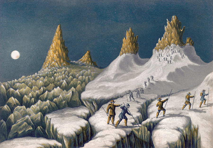 From Narrative of an Ascent of Mont Blanc, John MacGregor, 1855.