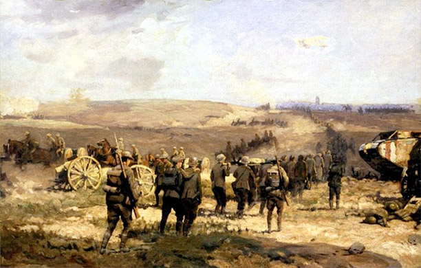 8 August 1918 by Will Longstaff, showing German prisoners of war being led towards Amiens