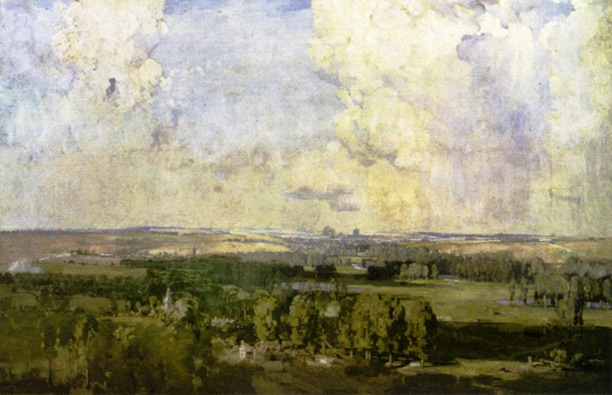 Amiens, the key to the west by Arthur Streeton, 1918.