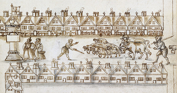 Driving animals to London's Eastcheap Market past carcasses for sale, from 'A Caveatt for the Citty of London', 1598. Folger Shakespeare Library