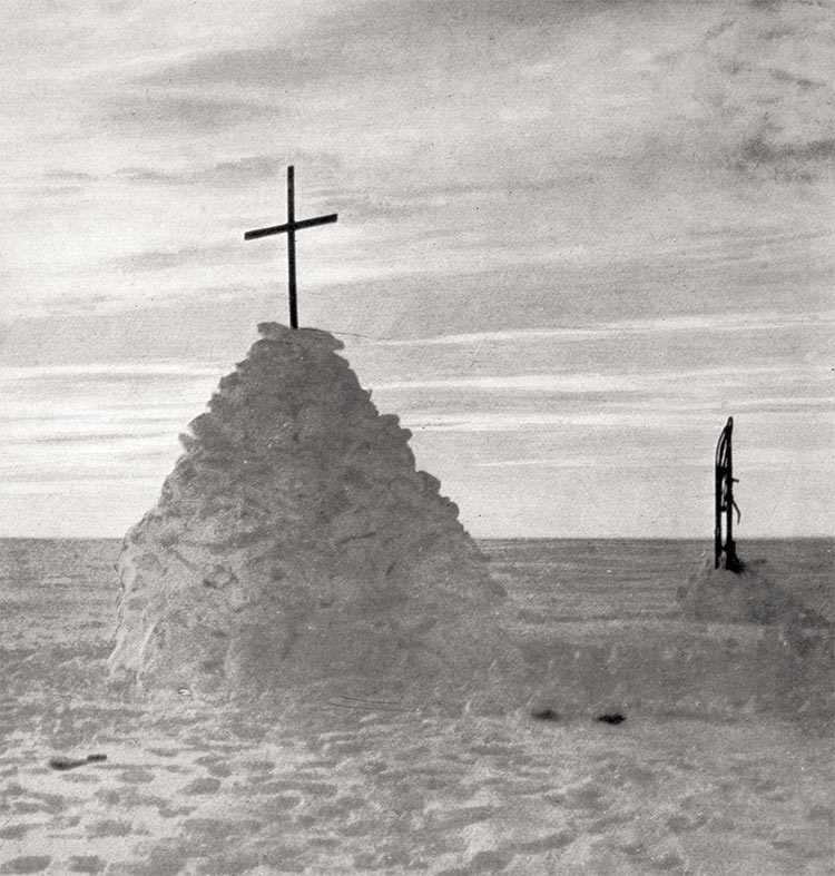 The tomb of Robert Falcon Scott, Edward Adrian Wilson and Henry R. Bowers, 1912.