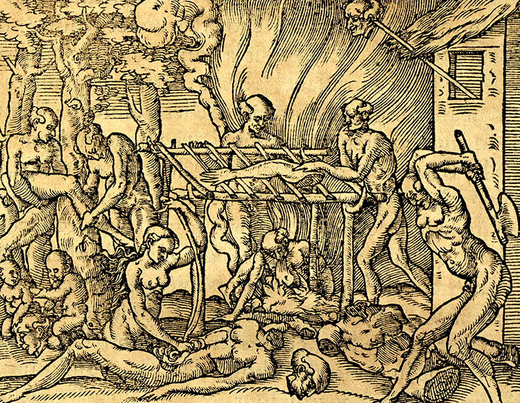 Tupinambá cannibal tribe in Brazil, engraving from Les singularitez de la France antarctique, André Thevet, 1558.