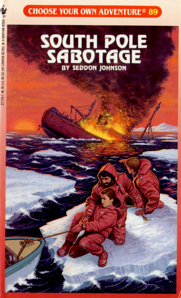 Cover design for Seddon Johnson's South Pole Sabotage, 1989.