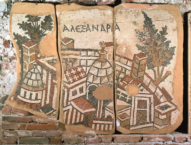 The city of Alexandria, from the floor mosaic of St John's Church, Gerasa, Jordan, sixth century