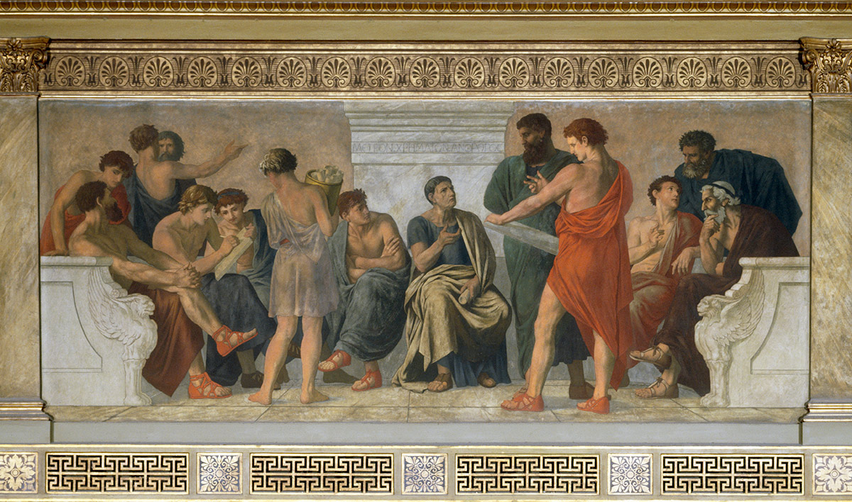 School of Aristotle. Fresco by Gustav Adolph Spangenberg, 1883-88