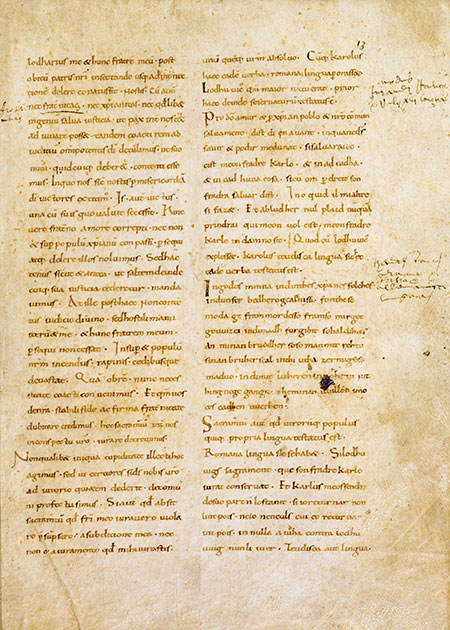 The Oaths of Strasbourg from Nithard's history, late tenth century. © Bridgeman Images