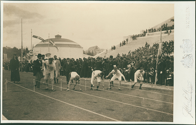 Preparation for the 100 metres at the Olympic Games, 1896. Ⓒ Alamy