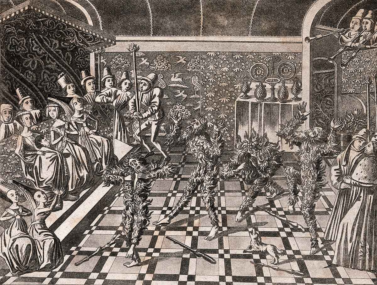 "The ""Bal des ardents"" from Froissart's Chroniques, British Library Harley MS 4380, c.1800 Aquatint by J. Harris after J. Froissart. Wellcome Collection."