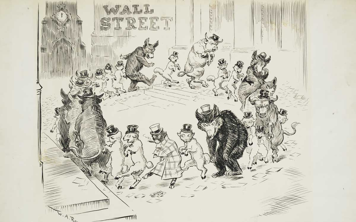 'Great activity in Wall Street', published in New York Herald, March 19, 1908. Library of Congress.