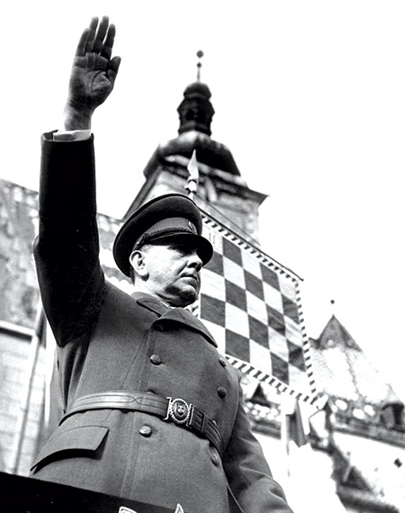 Ante Pavelic in St Mark's Square, Zagreb, April 1942.