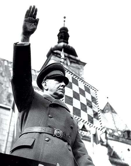 Ante Pavelic in St Mark's Square, Zagreb, April 1942.