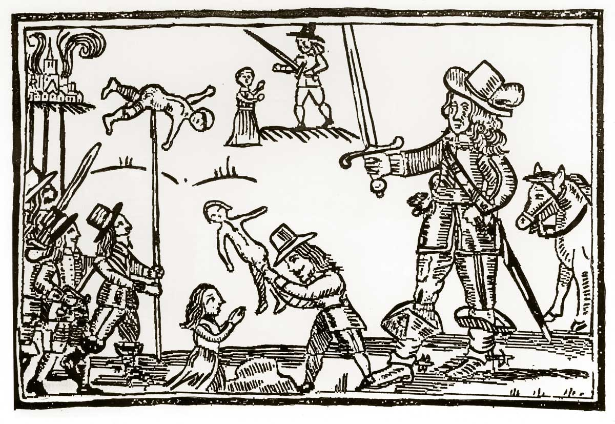 Parliamentary propaganda of Cavalier cruelty, woodcut, 1644 © Bridgeman Images.