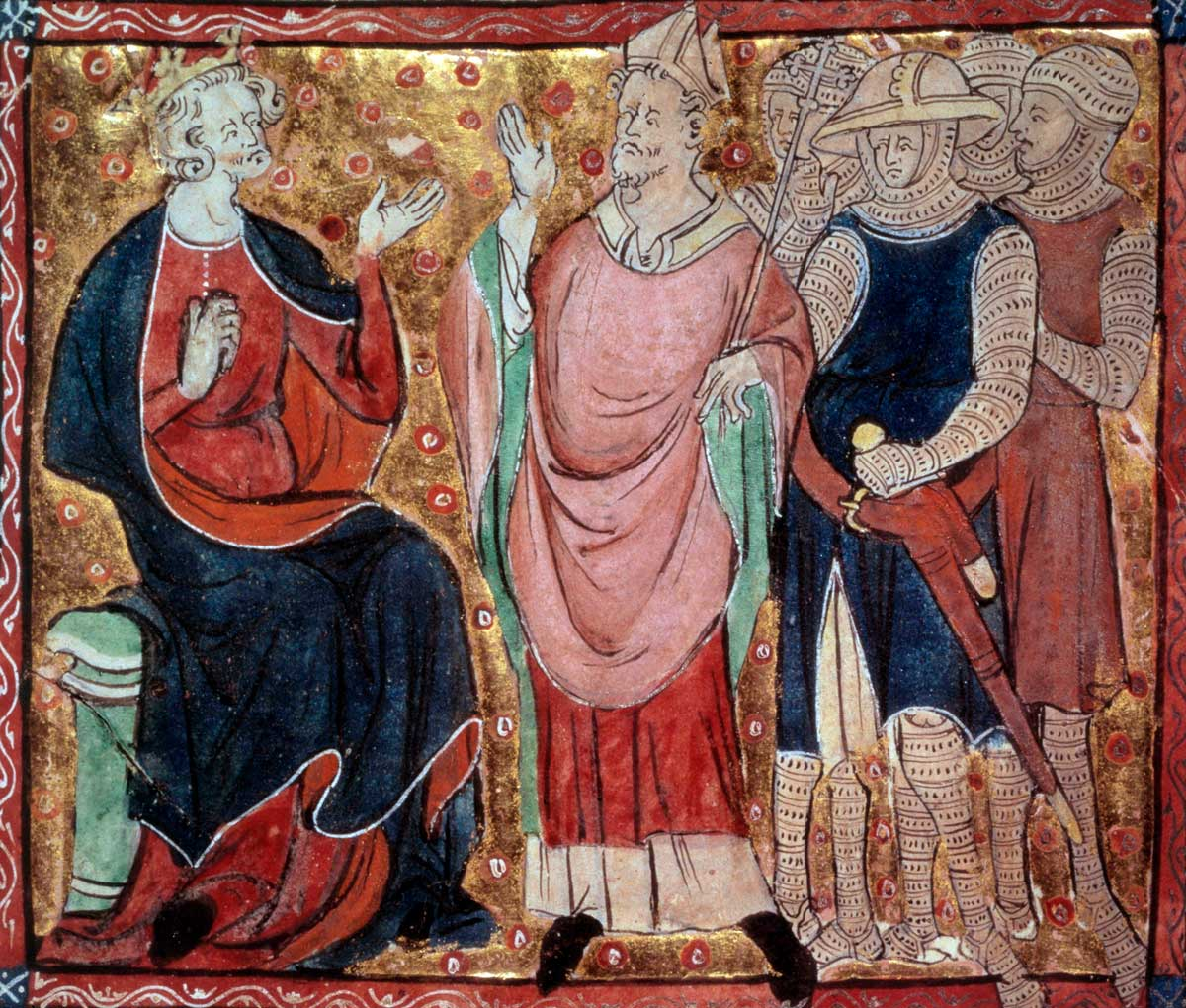 Henry II receiving a bishop and soldiers, from a French manuscript, 15th century © Bridgeman Images.