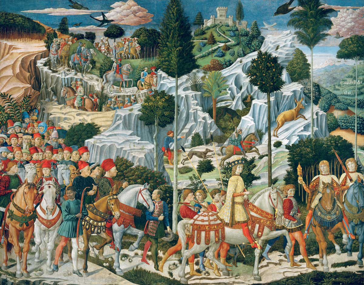 The Journey of the Magi to Bethlehem, from the east wall of the Chapel of the Palazzo Medici Riccardi, Florence, by Benozzo di Lese di Sandro Gozzoli, c.1459 © Bridgeman Images