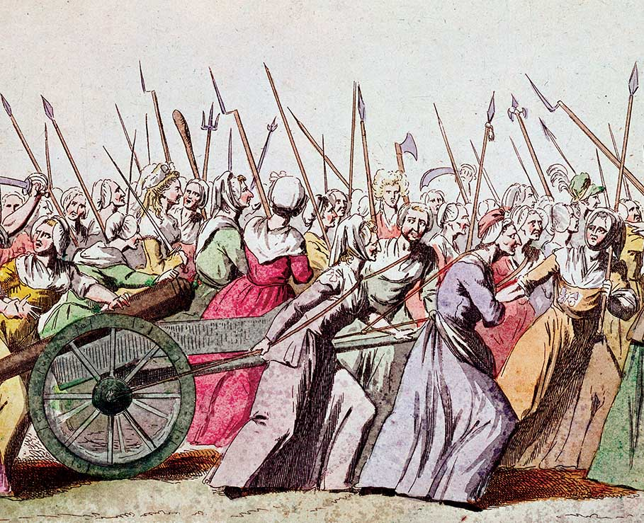 'March of the Women on Versailles, Paris, 5 October 1789', 18th-century engraving © Bridgeman Images