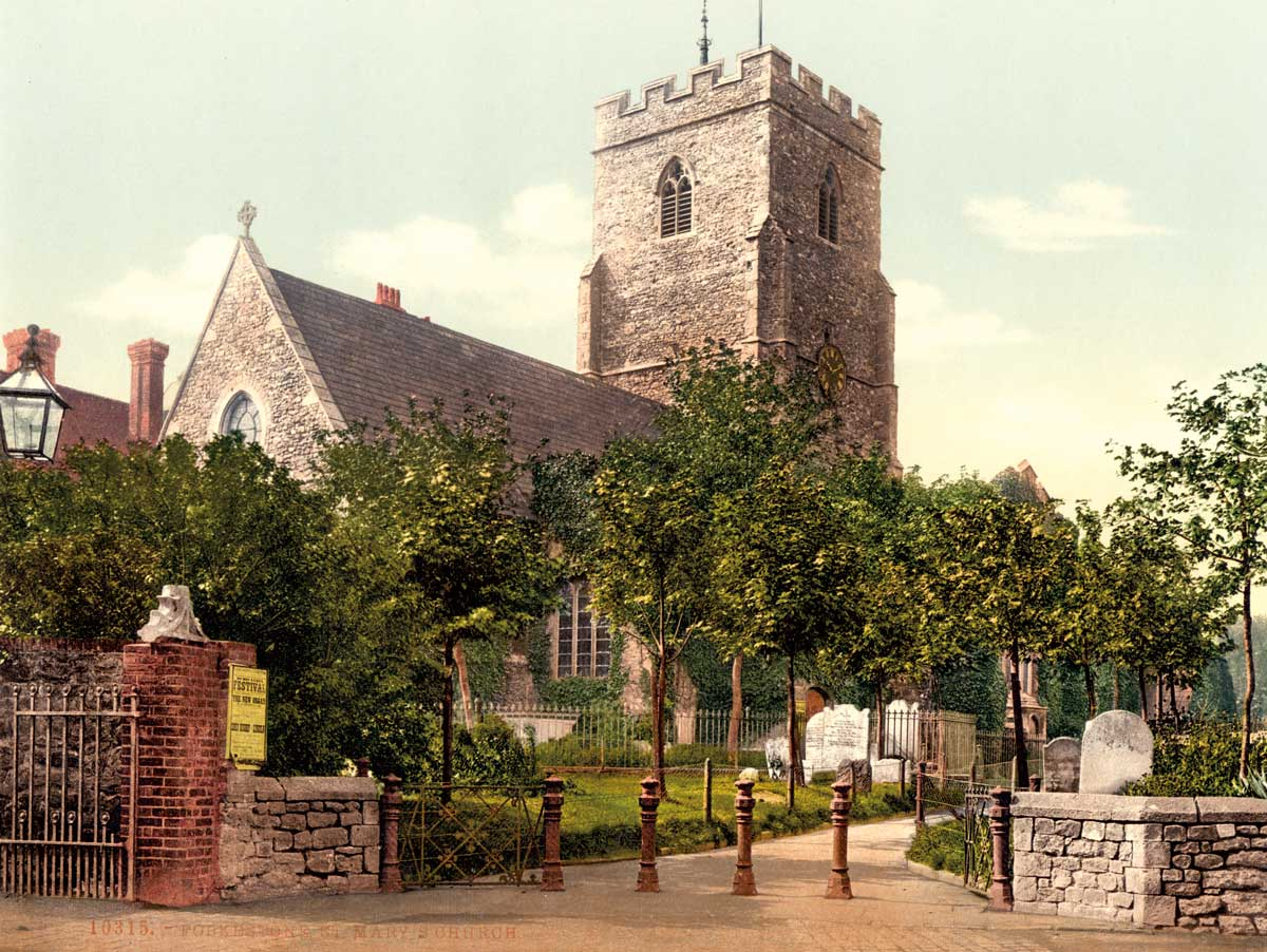 the Parish Church of St Mary and  St Eanswythe, Folkestone, c.1890 Courtesy Library of Congress, Washington DC/Wikimedia/Creative Commons.