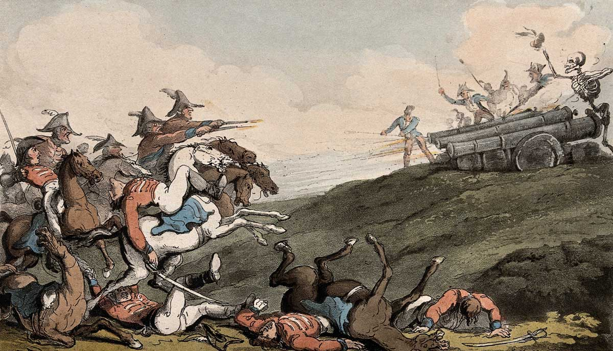 The dance of death: the battle. Coloured aquatint by T. Rowlandson, 1816. Wellcome Collection.
