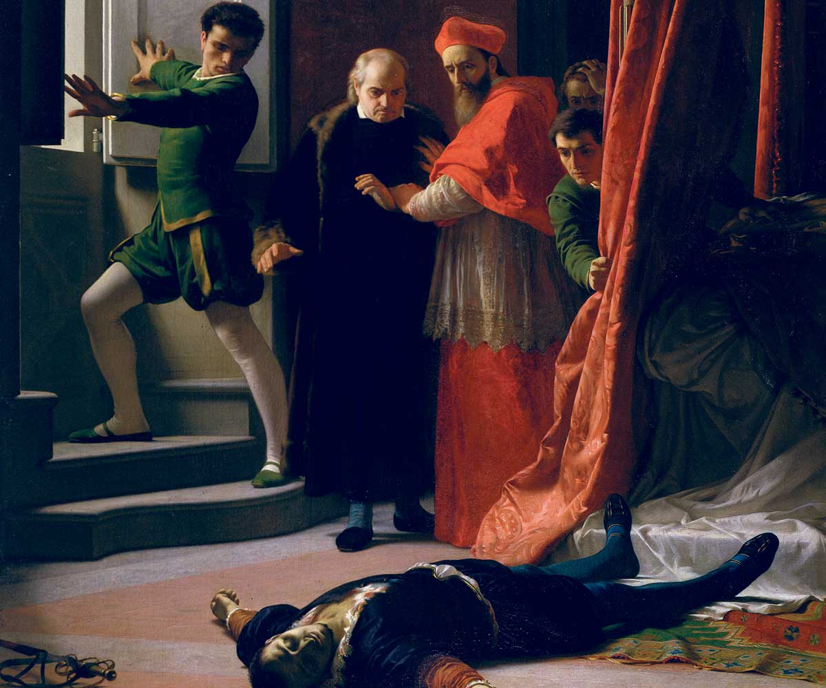 The Death of Alessandro de' Medici, by Giuseppe Bellucci, 1864 © Luisa Ricciarini/Bridgeman Images.