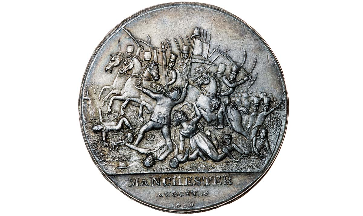 Obverse side of a medal commemorating the Peterloo Massacre, 19th century © Timothy Millett Collection/Bridgeman Images
