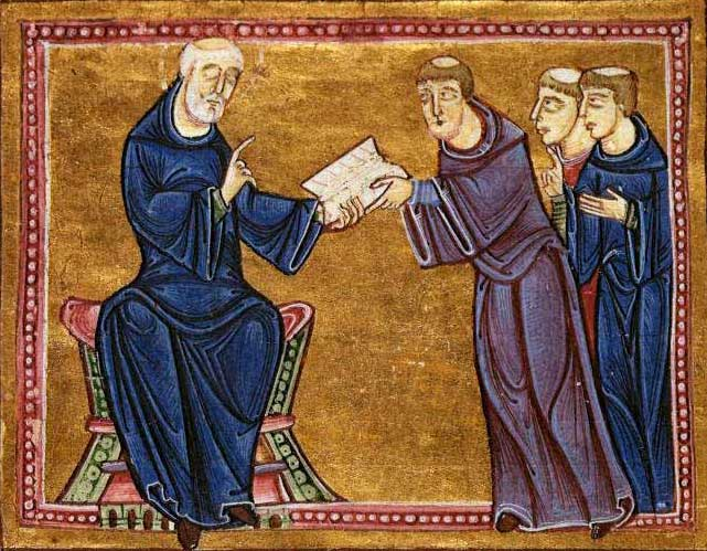 Saint Benedict delivering his Rule to the monks of his order, Monastery of St Gilles, Nîmes, France, 1129. Wiki Commons.