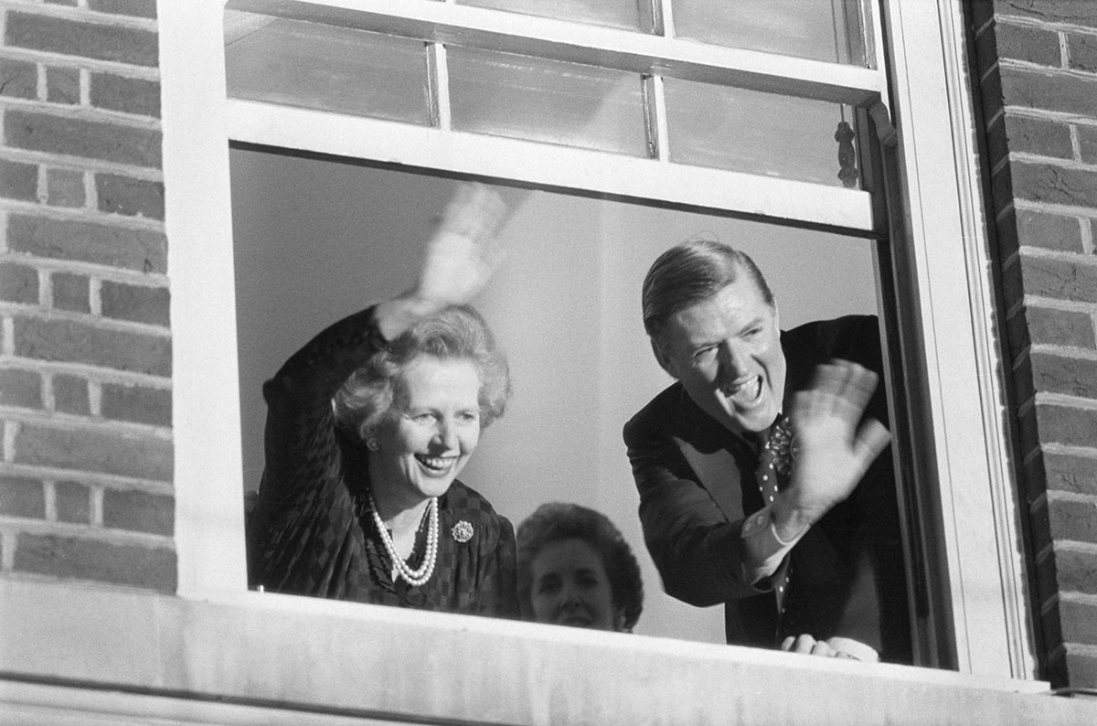 Margaret Thatcher  and Conservative  Party Chairman Cecil Parkinson, celebrating the Conservative election victory, 9 June 1983 © Getty Images